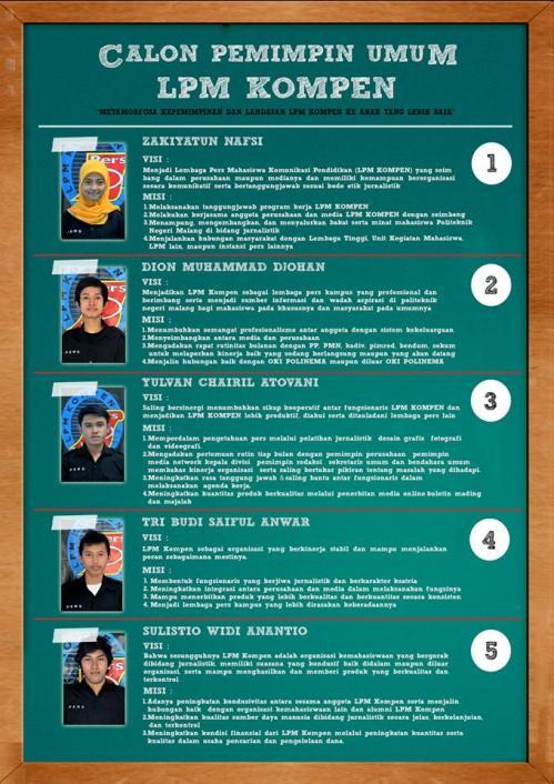 Visi & Misi Calon Pemimpin Umum LPM KOMPEN 2014-2015
