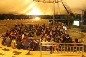Semua warga sekber yang mengikuti Malam Keakraban Seketariatan Bersama 2015 di Graha Theater Polinema.